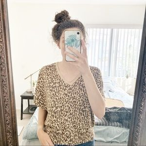VTG Storybook Knits Leopard Print V-neck Sweater